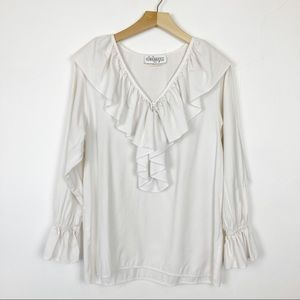Vintage white ruffled blouse frilly vampire shirt